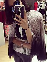 Недорогие -Жен. На выход Зима Обычная Пальто с мехом, Контрастных цветов Без воротника Длинный рукав Искусственный мех Белый