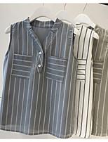 Недорогие -Жен. Пэчворк Блуза Классический Полоски Синий и белый / Черное и белое Белый