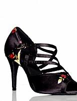 Недорогие -Жен. Танцевальная обувь Полиуретан Обувь для латины На каблуках Тонкий высокий каблук Черный