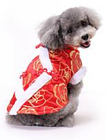 Недорогие -Собаки Коты Животные Платья Одежда для собак С принтом Пурпурный Красный Синий Полиэстер Костюм Назначение Весна Этнический Новый год