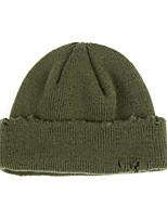 Недорогие -Муж. Жен. Активный Классический Симпатичные Стиль Широкополая шляпа Хлопок Вязаная одежда,Однотонный Осень Зима Черный Зеленый Серый