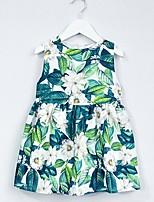 Недорогие -Дети Девочки Цветочный принт Платье Зеленый