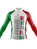 Недорогие -21Grams Italy Флаги Муж. Длинный рукав Велокофты - Красный / Белый Велоспорт Джерси Верхняя часть Сохраняет тепло Устойчивость к УФ Дышащий Виды спорта Зима 100% полиэстер / Эластичная