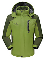 cheap -Men's Hiking Jacket Ski Jacket Winter Outdoor Solid Color Waterproof Windproof Breathable Warm Winter Jacket Single Slider Camping / Hiking Hunting Ski / Snowboard Black Red Army Green Blue Green