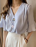 Недорогие -Жен. Рубашка Однотонный Белый