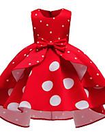 Недорогие -Дети Дети (1-4 лет) Девочки Активный Милая Горошек Без рукавов До колена Платье Синий