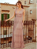 Недорогие -А-силуэт Погруженный декольте В пол Полиэстер Торжественное мероприятие Платье с Слои юбки от LAN TING Express