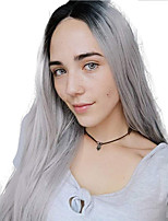 Недорогие -Синтетические кружевные передние парики Прямой Стиль Средняя часть Лента спереди Парик Омбре Черный / серый Искусственные волосы 18-26 дюймовый Жен. Регулируется Жаропрочная Для вечеринок Серый Омбре