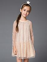 Недорогие -Дети Девочки Симпатичные Стиль Однотонный Платье Бежевый