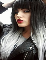Недорогие -Парики из искусственных волос Прямой Rihanna Стиль Аккуратная челка Машинное плетение Без шапочки-основы Парик Омбре Черный / зеленый Черный / розовый Черный / серый Искусственные волосы 24 дюймовый