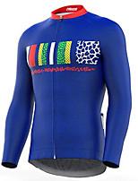 Недорогие -21Grams Муж. Длинный рукав Велокофты Синий Велоспорт Джерси Верхняя часть Сохраняет тепло Устойчивость к УФ Дышащий Виды спорта Зима 100% полиэстер Горные велосипеды Шоссейные велосипеды Одежда