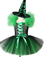 Недорогие -девушки ведьма костюм пачка с шляпой хэллоуин карнавал зеленое платье необычные платья