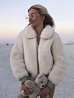 Недорогие -Жен. Повседневные Классический Зима Обычная Искусственное меховое пальто, Однотонный Отложной Длинный рукав Искусственный мех Белый
