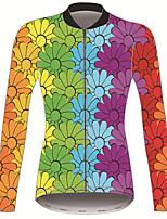 Недорогие -21Grams Цветочные ботанический Жен. Длинный рукав Велокофты - Голубой + Желтый Велоспорт Джерси Верхняя часть Сохраняет тепло Устойчивость к УФ Дышащий Виды спорта Зима 100% полиэстер / Эластичная
