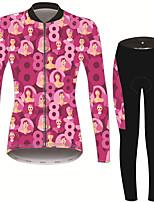 Недорогие -21Grams Мир и Любовь Жен. Длинный рукав Велокофты и лосины - Розовый / черный Велоспорт Наборы одежды Сохраняет тепло Дышащий Быстровысыхающий Виды спорта Зима Терилен Полиэфирная тафта