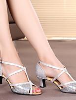 Недорогие -Жен. Танцевальная обувь Овчина Обувь для латины На каблуках Толстая каблук Золотой / Серебряный