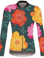 Недорогие -21Grams Цветочные ботанический Жен. Длинный рукав Велокофты - Зеленый  / желтый Велоспорт Джерси Верхняя часть Сохраняет тепло Устойчивость к УФ Дышащий Виды спорта Зима 100% полиэстер / Эластичная