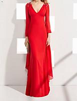 Недорогие -Русалка V-образный вырез В пол Шифон Торжественное мероприятие Платье с Кристаллы от LAN TING Express