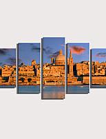 Недорогие -С картинкой Роликовые холсты Отпечатки на холсте - Пейзаж Архитектура Modern 5 панелей Репродукции