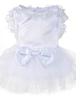 Недорогие -Собаки Платья Одежда для собак Однотонный Белый Полиэстер Костюм Назначение Лето Свадьба