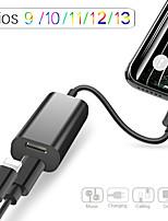 Недорогие -адаптер для кабеля молнии 1 штекер на 2 шт. портативный аудио адаптер для iphone iphone 11 / 11pro / 11 pro max ios13