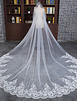 cheap -one-tier elegant & luxurious wedding veil cathedral veils with embroidery / appliques / solid 118.11 in (300cm) tulle