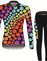 Недорогие -21Grams Цветочные ботанический Жен. Длинный рукав Велокофты и лосины - Черный / оранжевый Велоспорт Наборы одежды Сохраняет тепло Дышащий Быстровысыхающий Виды спорта Зима Терилен Полиэфирная тафта