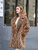 Недорогие -Жен. Повседневные Зима Длинная Искусственное меховое пальто, Леопард Отложной Длинный рукав Искусственный мех Коричневый