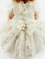 Недорогие -Собаки Инвентарь Платья Одежда для собак Вышивка Белый Желтый Синий Полиэстер Костюм Назначение Лето Свадьба