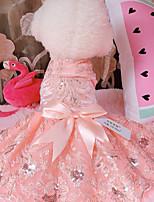 Недорогие -Собаки Инвентарь смокинг Одежда для собак Цветочные / ботанический Золотой Красный Розовый Полиэстер Костюм Назначение Лето Мужской Свадьба