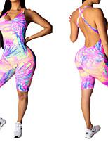 Недорогие -Жен. Открытая спина Тренировочный комбинезон 3D-печати Йога Фитнес Тренировка в тренажерном зале Боди Без рукавов Спортивная одежда Дышащий Влагоотводящие Быстровысыхающий Подтяжка Эластичность Тонкие