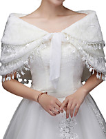 cheap -Short Sleeve Shawls Faux Fur Wedding Women's Wrap With Tassel / Lace-up / Tiered