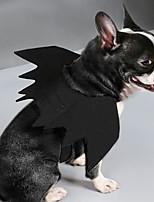 Недорогие -Собаки Плащи Крылья летучей мыши Одежда для собак Однотонный Черный Полиэстер Костюм Назначение Весна & осень Праздник Хэллоуин