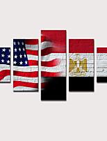 Недорогие -С картинкой Отпечатки на холсте - Пейзаж Натюрморт Modern 5 панелей Репродукции