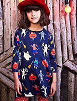 Недорогие -Дети Девочки Мультипликация Платье Темно синий