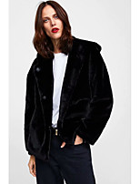 Недорогие -Жен. Повседневные Обычная Искусственное меховое пальто, Однотонный Капюшон Длинный рукав Искусственный мех Черный