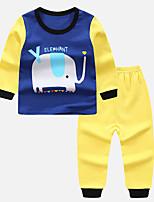 Недорогие -Дети Мальчики Классический Мультипликация Длинный рукав Набор одежды Желтый