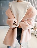 Недорогие -Жен. Повседневные / Офис Уличный стиль / Изысканный Наступила зима Длинная Искусственное меховое пальто, Однотонный Отложной Длинный рукав Искусственный мех Меховая оторочка Розовый / Серый