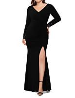 Недорогие -Русалка V-образный вырез В пол Джерси Торжественное мероприятие Платье с Бусины от LAN TING Express