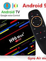 Недорогие -H96 Макс плюс голосовое управление Smart TV Box Android 9,0 RK3328 4K медиаплеер Quadcore 4 ГБ оперативной памяти 64 ГБ ROM Android 8,1 Rockchip Set Top Box 2,4 г / 5 г Wi-Fi H.265 H96max + Tvbox