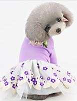 Недорогие -Собаки Коты Животные Платья Одежда для собак Кружева Цветы Лиловый Желтый Розовый Полиэстер Костюм Назначение Лето Юбки и платья