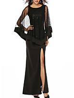 Недорогие -Жен. Классический Маленькое черное Платье - Однотонный Макси