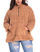 Недорогие -Жен. Повседневные Классический / Уличный стиль Осень / Зима Длинная Искусственное меховое пальто, Однотонный Капюшон Длинный рукав Искусственный мех Верблюжий