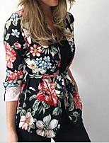 Недорогие -Жен. Повседневные Обычная Пальто, Растения V-образный вырез Длинный рукав Полиэстер Черный