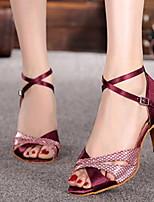 Недорогие -Жен. Танцевальная обувь Искусственная кожа Обувь для латины На каблуках Тонкий высокий каблук Персонализируемая Черный / Красный