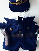 Недорогие -Собаки Костюмы Комбинезоны Одежда для собак Полиция / армия Темно-синий Полиэстер Костюм Назначение Зима Хэллоуин