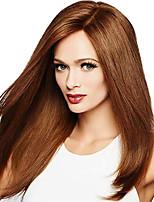 Недорогие -Синтетические кружевные передние парики Прямой Стиль Свободная часть Лента спереди Парик Medium Auburn Искусственные волосы 18-26 дюймовый Жен. Регулируется Жаропрочная Для вечеринок Коричневый Парик