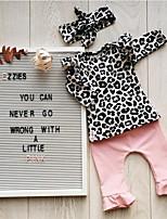 Недорогие -малыш Девочки На каждый день / Активный Леопард Оборки / Плиссировка / Пэчворк Длинный рукав Обычный Набор одежды Черный