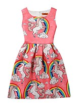 Недорогие -Дети Девочки Активный Милая Unicorn Мультипликация С принтом Без рукавов До колена Платье Красный