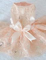 Недорогие -Собаки Инвентарь Платья Одежда для собак Цветы Золотой Красный Розовый Полиэстер Костюм Назначение Лето Свадьба